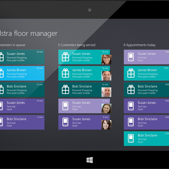 Telstra Floor Manager Windows 8 App Design